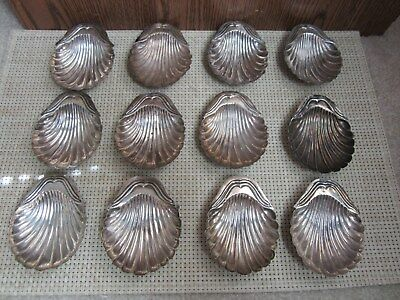 Set of 12 Vintage Sterling Mexico 3 Footed Scalloped Dish