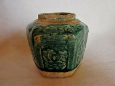 Antique Chinese Green Glazed Hexagonal Pottery Ginger Jar -19th  Century - 4""