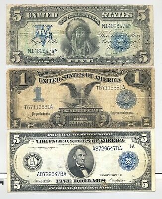 $1 and $5 Series 1899 Silver Certificates and a higher grade $5 1914 FRN