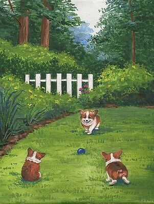 1.5x2 DOLLHOUSE MINIATURE PRINT OF PAINTING RYTA 1:12 SCALE CORGI LANDSCAPE ART