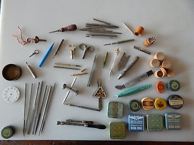 Lot of watch tools vintage jewelry case tins watchmakers graver repair pin vise