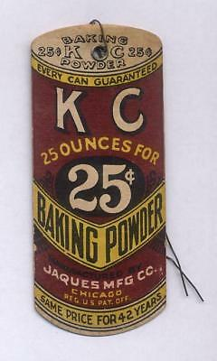 KC BAKING POWDER Die Cut Shipping Tag Chicago Jaques Mfg Co