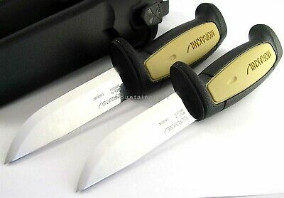 2 Pc LOT Mora Morakniv Basic 511 Skinner Carbon Steel Knife Sweden BLACK TAN