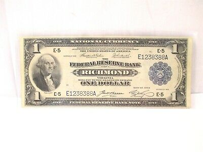 1918 Federal Reserve Bank Of Richmond One Dollar $1 National Currency Bank Note