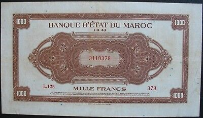 1943 Morocco 1000 Francs  Note