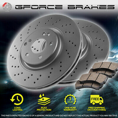 FRONT Cross Drilled Rotors & Pads for 2013-2015 Ford Explorer w/ Standard Brakes