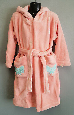 BNWT Girls Size 6 Soft Fluffy Coral Pink Dressing Gown With Hood