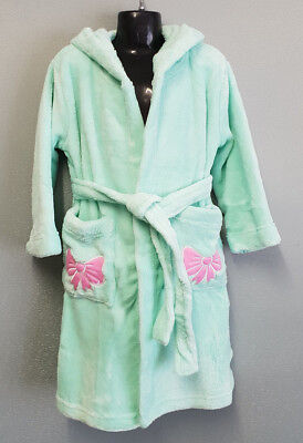 BNWT Girls Size 3 Soft Fluffy Mint Green Dressing Gown With Hood