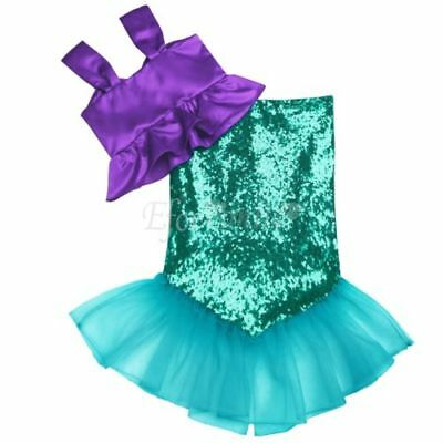 Toddler Girls Sequins Little Mermaid Tail Costume Halloween Outfits Top+Skirt