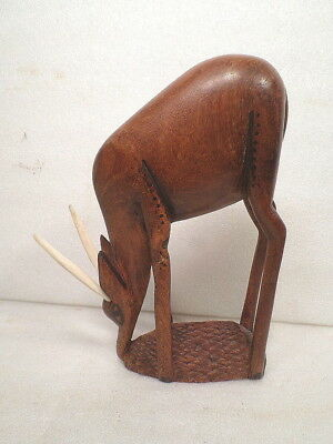 Hand Carved Wood Gazelle With Horns