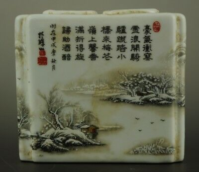 chinese Old Hand Painting Snow Scenery Porcelain Brush Pot c01