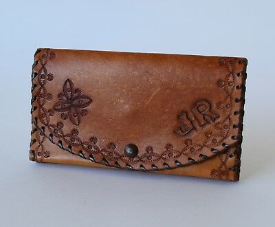 Vintage Retro 60s/70s HAND TOOLED BROWN LEATHER WALLET Purse/Clutch 'JR'