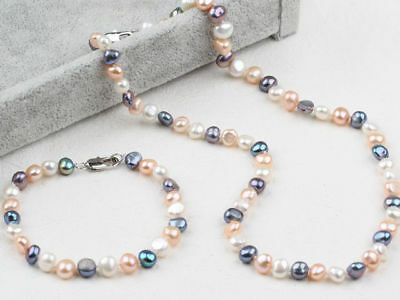 Nice Three-Colour Freshwater Pearl Matching Necklace and Bracelet Set