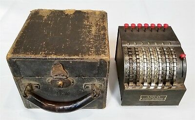Antique Amco Adding Machine W/ Original Case - Tested And Works Great!