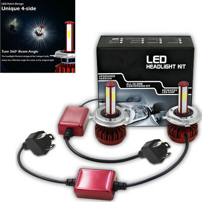 2x H4 9003 High/Low Beam 6000K Bulbs 4-Side LED Headlight Kit For Car Motorcycle
