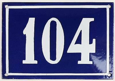 Large old blue French house number 104 door gate plate plaque enamel metal sign