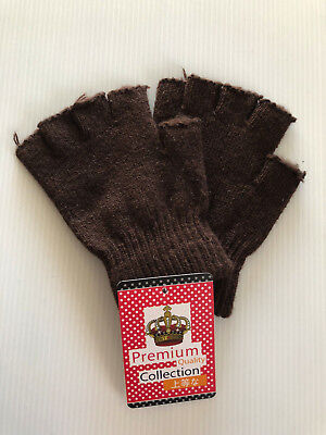 0d4a08b026d BNWT Mens or Teenager Boys Smart Brown Fingerless Knit Gloves One Size Fits  Most