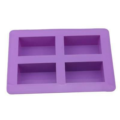 BS Handmade Rectangle Silicone Mold Chocolate Cake Mould Soap 4 Cavity Mould