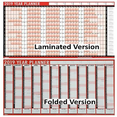 Wall Planner 2019 - A1 Large Red Year Calendar Flat or Laminated - UK Supplier