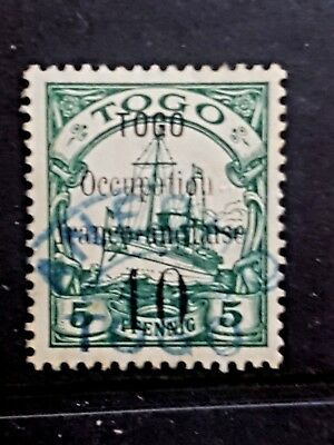 Togo Anglo-French occupation Blue Cancel used