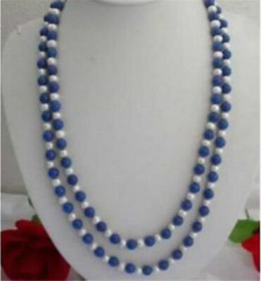"Natural 8mm Egyptian Blue Lapis Lazuli & Real White Pearl Necklace 30"" Strand"