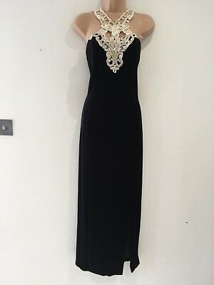 Vintage 80s Black Velour & Ivory Lace Long Fitted Evening Cocktail Dress Size 12