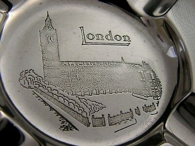 HEAVY HOUSES of PARLIAMENT SOLID SILVER ASH TRAY 1944 ART DECO 122g SUPERB