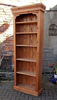 VERY TALL AND NARROW 209cm HIGH SIX-SHELF OPEN BOOKCASE~SOLID PINE~PLANKED BACK