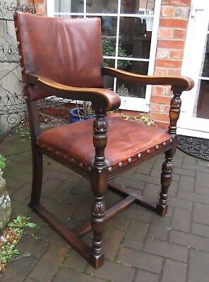 Lovely Jacobean Tudor Oak And Brown Leather Desk Or Library Chair~Open Armchair