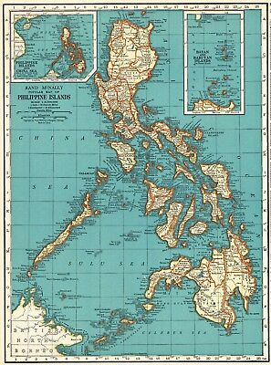 1937 Vintage PHILIPPINES Map of the Philippine Islands Gallery Wall Art #5464