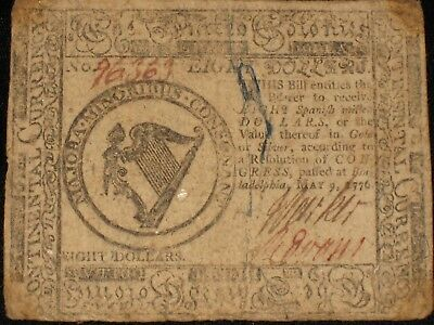 US Continental Currency - Eight Dollars - May 9, 1776 ** CC-38 ** (CC-232)