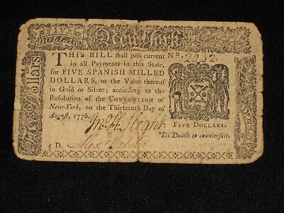 US NY Colonial Currency - 5 dollar - August 13, 1776 ** NY-204 ** (CC-230)