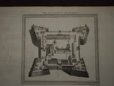 1750 ANTIQUE PRINT of FORT HOLLANDOIS DE l'ILE DE BANDA - INDONESIA NEIRA ISLAND