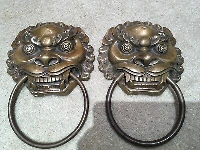 Pair Of  Large Antique Bronze Chinese  Foo Dog Handles With Rings