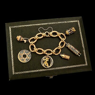 Antique Vintage Art Deco Mid Century 18k Gold World Traveler HUGE Charm Bracelet