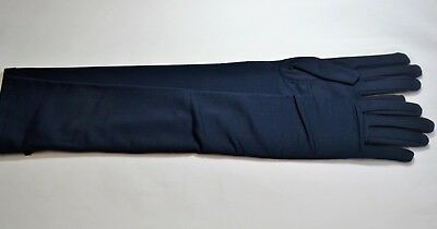 "Women's Elbow Length Navy Blue Nylon Stretch Satin Gloves Formal 18""  One Size"