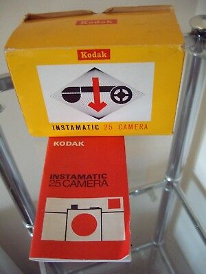 Vintage Kodak Instamatic 25 Camera In Original Box With Instruction Booklet!