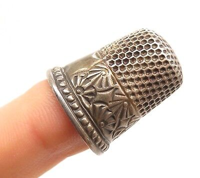Signed Antique Victorian Sterling Silver Handcrafted Artisan Thimble