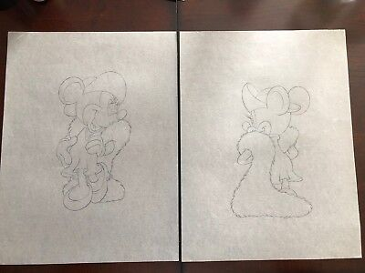 Lot Of 2 Vintage Disney Minnie Mouse Original Model Production Drawing