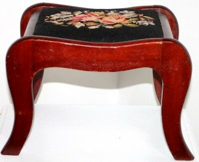 Antique Victorian Needlepoint Footstool / Ottoman W/ Chippendale Mahogany Base