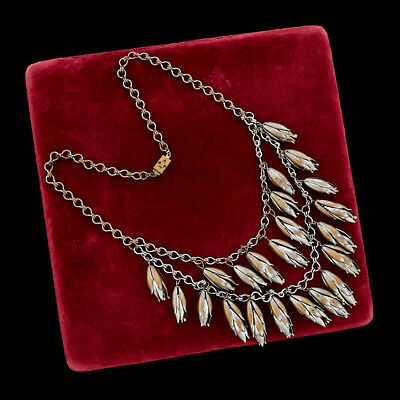 Antique Vintage Deco Sterling Silver Plated Ethnic Tribal Festoon Style Necklace