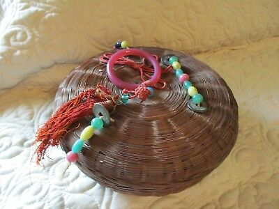 Vintage Antique Chinese Wicker Sewing Basket w/ Beads & Coins