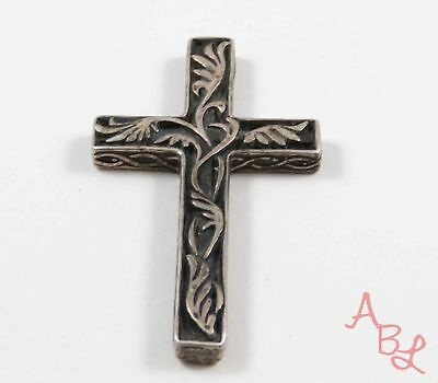 Sterling Silver Vintage 925 Religious Cross Etched Pendant (12.6g) - 723942