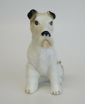Vintage Fox Terrier Dog Figurine Sitting Porcelain Ceramic Animal Japan