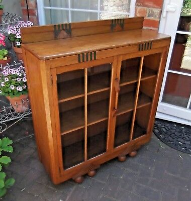 Lovely Art Deco Tiger Oak Glazed Bookcase~Three  Book Shelves~Canted Corners