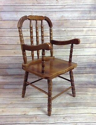 Vintage Jenny Lind Wooden Child's Chair Brown Wood Small Nursery Decor or Use
