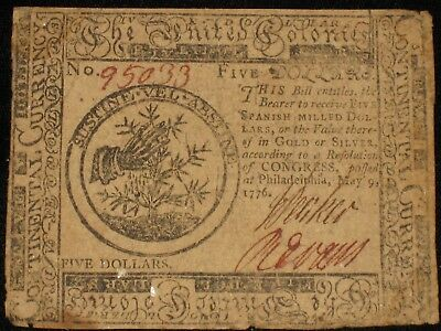 US Continental Currency - Five Dollars - May 9, 1776 ** CC-35 ** (CC-235)