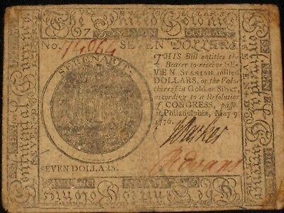 US Continental Currency - Seven Dollars - May 9, 1776 ** CC-37 ** (CC-233)