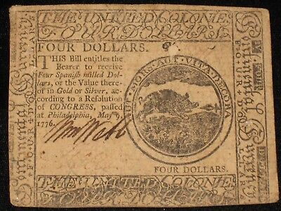 US Continental Currency - Four Dollars - May 9, 1776 ** CC-34 ** (CC-236)