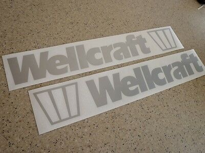 """Wellcraft Vintage Boat Decal Silver 18"""" 2-PAK FREE SHIP + FREE Fish Decal!"""